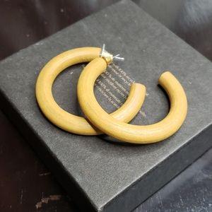 Lightweight Natural Color Wood Hoop Earrings